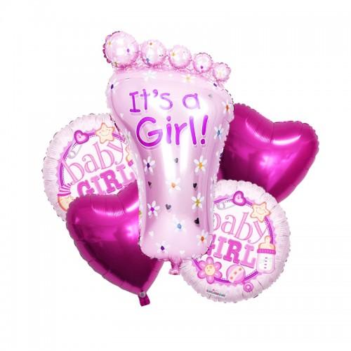 Globos baby shower rosa