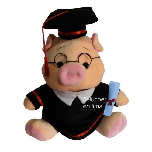 Peluche cerdito graduacion