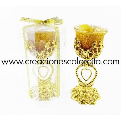 Vela candelabro corazon (dorado)