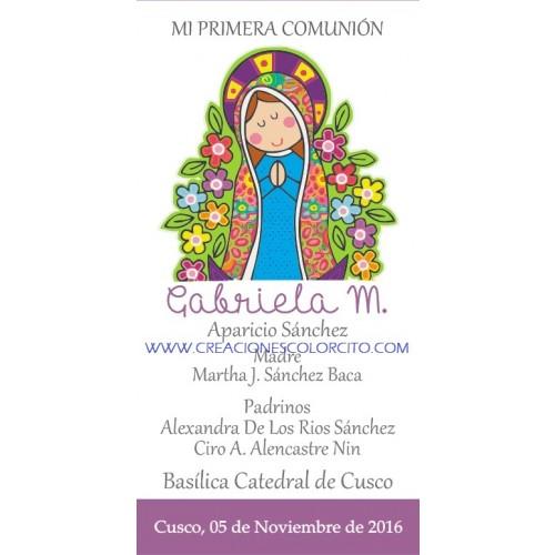 Estampas de primera comunión  Virgen de Guadalupe