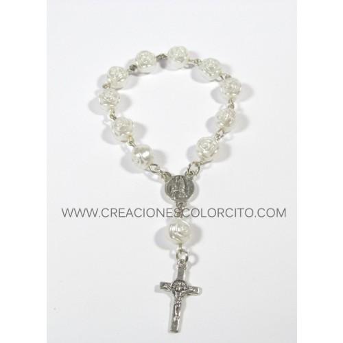 Recuerdo misa de honras-denarios plateado con perlas