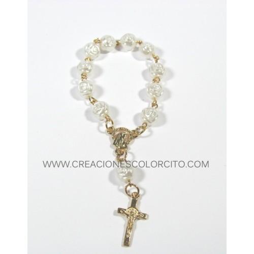 Recuerdo misa de honras-denarios dorado con perlas