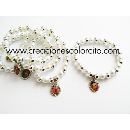 Pulsera perla y billa (blanco)
