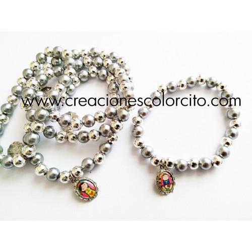Pulsera perla y billa (gris)